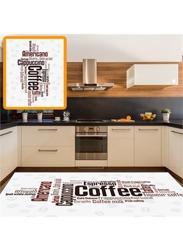 Halı Kahve Yazılı Beyaz Zemin Modern Mutfak Halıları 80X150Cm Renkli